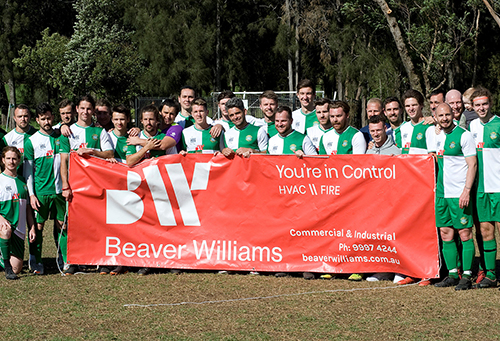Photo Pittwater RSL FC Team with Beaver Williams Banner